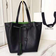 Celine Small Cabas Phantom With Tassels In Black Leather