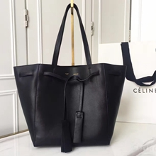 Celine Small Cabas Phantom With Tassels In Noir Leather