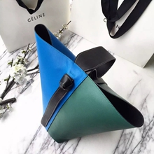 Celine Small Twisted Cabas Bag In Blue/Green Calfskin